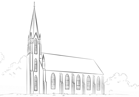 Ausmalbild Kirche Kostenlos