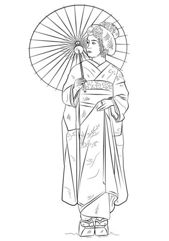 Dibujo de Chica Japonesa con el Vestido Tradicional para