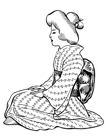 Japanese Woman Wearing Kimono with Obi Sash coloring page
