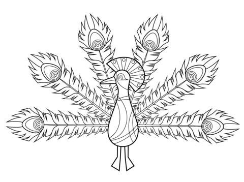 Pavo Real Dibujo. Simple Dibujos Para Colorear Pavo Real