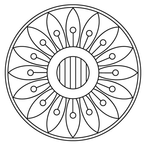 Disegno di Mandala con motivo a fiori da colorare