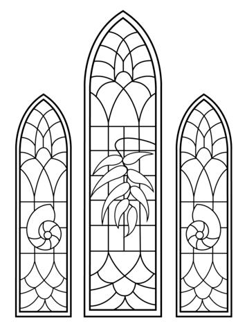 Ausmalbild Kirchenfenster