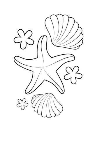 Starfish and Shells coloring page Free Printable