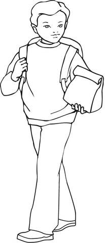 Dibujo de Niño Llevando Su Comida y su Mochila para