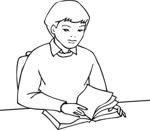 Disegno di Ragazzo che studia su un libro da colorare