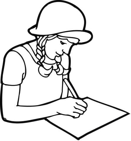 Desenho de Uma garota estudante escrevendo em papel para