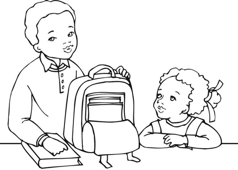 Dibujo de Niño y Niña Americanos Listos para el Colegio