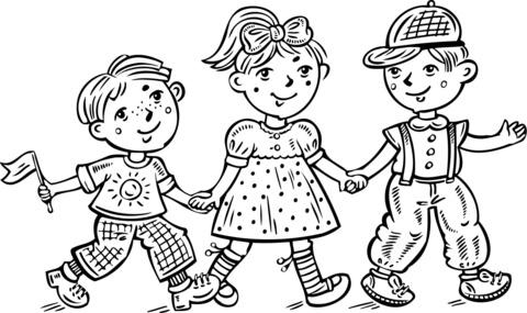 Ausmalbild: Kinder Jungen und ein Mädchen feiern