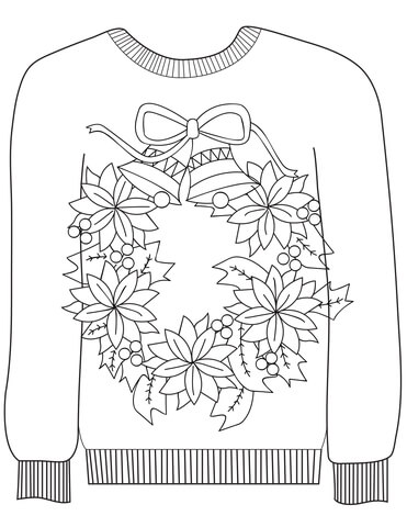 Christmas Ugly Sweater with a Christmas Wreath Motif