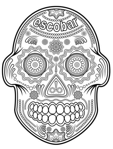 Dibujo de Calavera de Azúcar Escobar para colorear