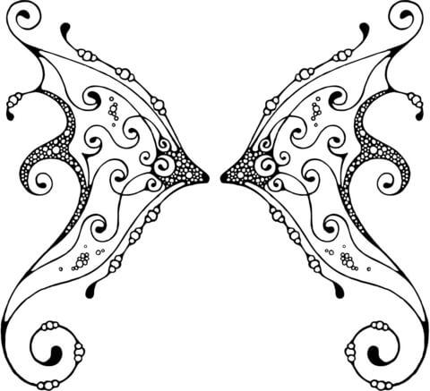 Dibujo de Alas de Hada con Estampado para colorear