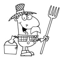 Disegno di Contadino con cappello di paglia da colorare ...