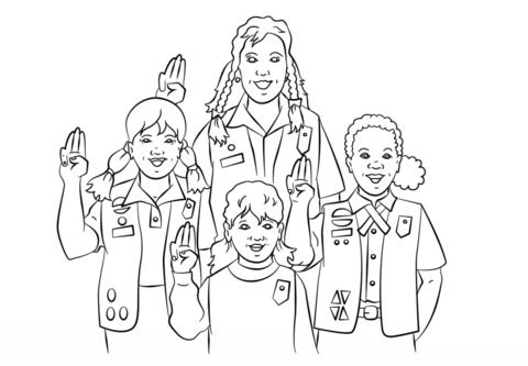 Dibujo de Promesa de las Chicas Scout para colorear