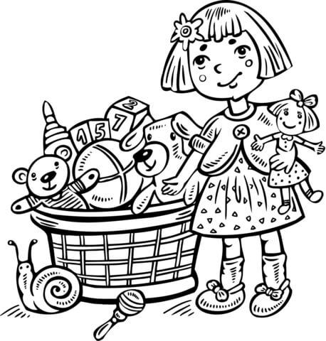 Dibujo de Niña con Caja de Juguetes para colorear