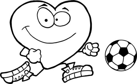 Ausmalbild: Gesundes rotes Herz mit einem Fußball