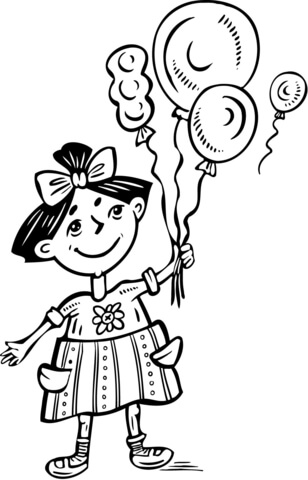 Little Girl Holding Balloons Coloring Page Free