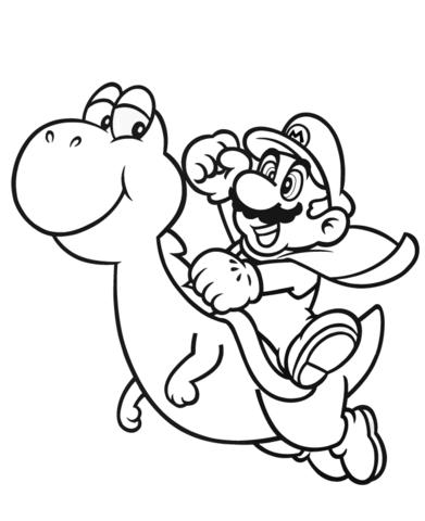 Mario met Yoshi kleurplaat Gratis Kleurplaten printen