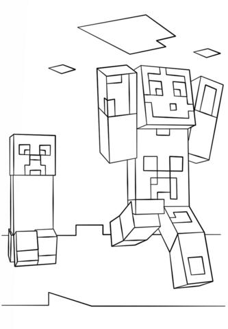 Dibujo de Steve y Creeper de Minecraft para colorear