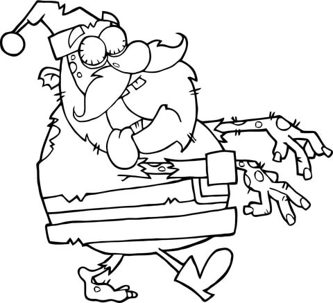 Santa Zombie Walking with Hands in Front coloring page