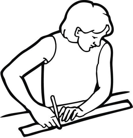 Ausmalbild: Männlicher Student mit einem Lineal