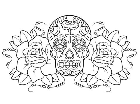 Dibujo de Calavera de Azúcar y Rosas para colorear