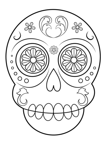 Dibujo de Calavera de Azúcar Sencilla para colorear