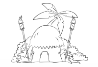 Tiki Hut with Torches coloring page | Free Printable ...
