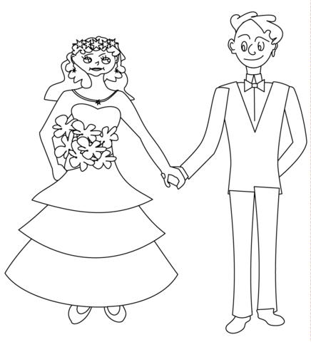 Ausmalbild Brautpaar Glücklich Ausmalbilder Kostenlos