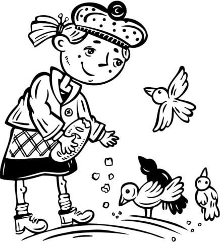 Dibujo de Niña Pequeña Dando de Comer a los Pájaros para