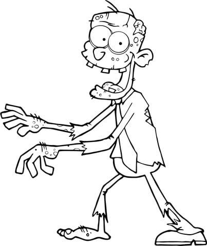 Dibujo de Zombi Caminando con las Manos Delante para