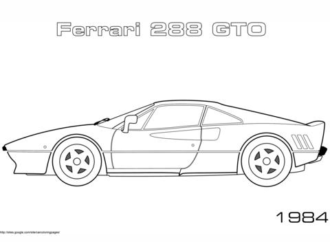 Disegno Di Ferrari 288 GTO Del 1984 Da Colorare Disegni