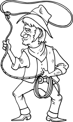 Cowboy is Throwing the Lasso Loop of Rope coloring page