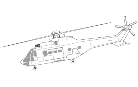 Ausmalbild: Eurocopter AS332 Super Puma Hubschrauber