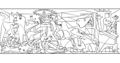 Ausmalbild Guernica von Pablo Picasso Ausmalbilder