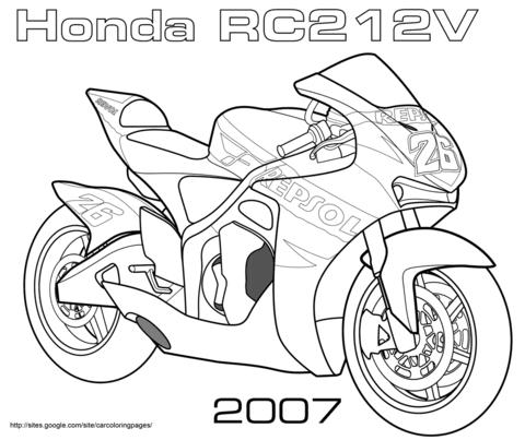 Ausmalbild: Honda RC212V Strassenrennen Motorad