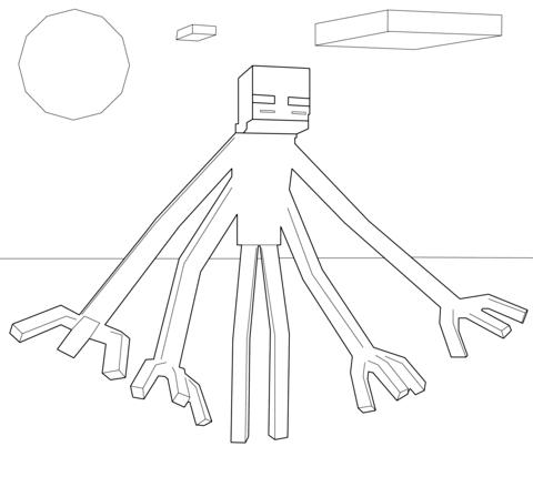 Dibujo de Enderman Mutante de Minecraft para colorear