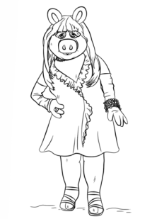 Miss Piggy from The Muppets coloring page Free Printable