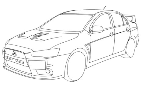 Dibujo de Mitsubishi Lancer Evolution X para colorear