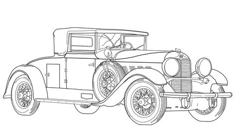 Vanhantyylinen auto värityskuva