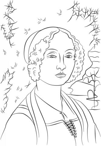 Dibujo de Retrato de Ginevra de Benci de Leonardo Da Vinci