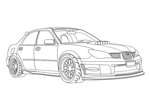 Subaru Car Drawing Coloring Pages
