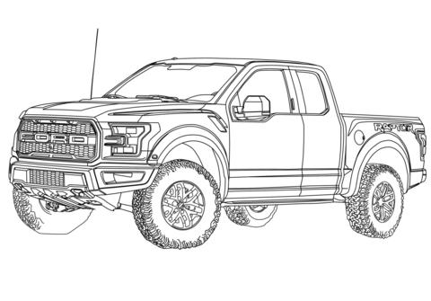 Dibujo de Ford F 150 Raptor de 2017 para colorear