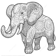Coloriage 201l233phant ethnique du Zentangle Coloriages 224