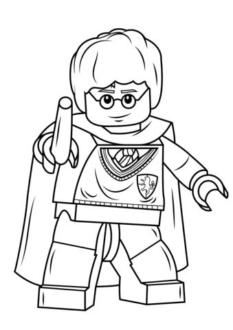 Ausmalbild: Lego Harry Potter mit Zauberstab