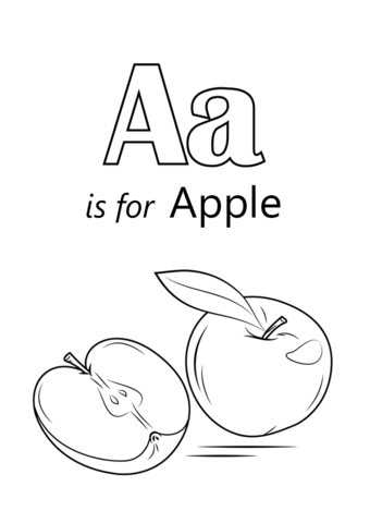 Letter A Is For Apple Coloring Page Free Printable Pages