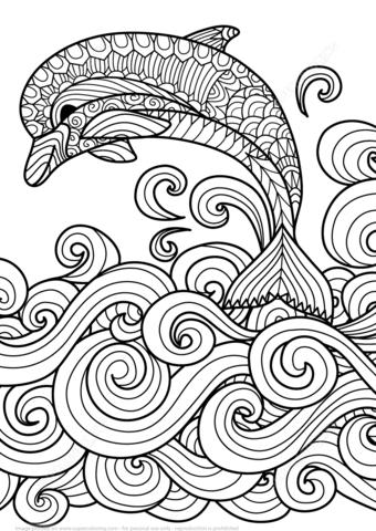 Disegno di Delfino sopra le onde marine Zentangle da