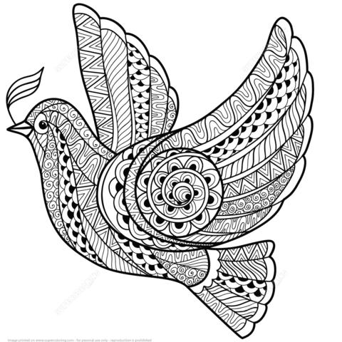 Dibujo de Paloma de la Paz Zentangle para colorear