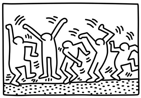 Disegno di Dancing Figures di Keith Haring da colorare