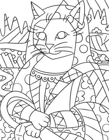 Coloriage Chat Romero Britto.Coloriage