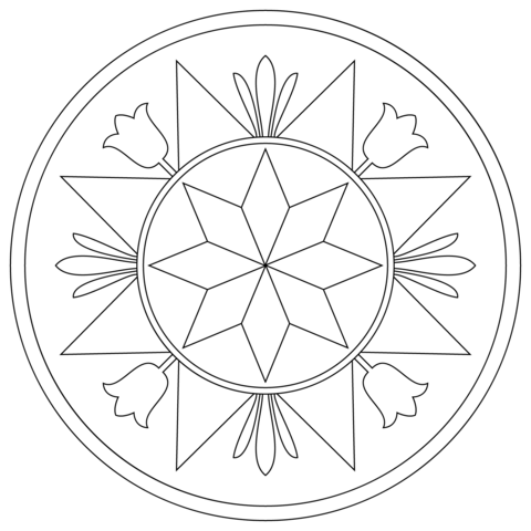 Pennsylvania Hex Sign with Compass Rose coloring page